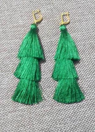 Ярусные серьги кисти зеленые