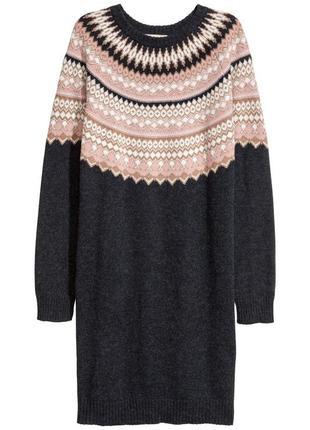 Теплое и мягкое стильное платье шерсть от h&m премиум качество 44-46-48 новое бирки