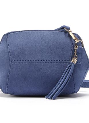 Синяя сумка клатч женская эко-замша