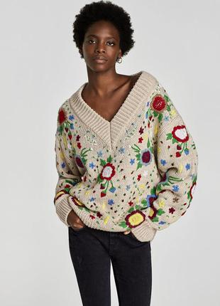 Нереально красивый и стильный свитер оверсайз от zara новый бирки!