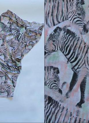 Полная распродажа!!! удлиненная футболка на одно плечо topshop с принтом в зебры
