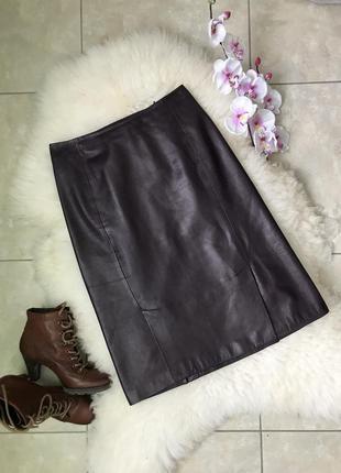 Шикарная кожаная юбочка миди prada италия оригинал