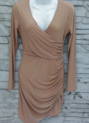 Нарядное, коктейльное, вечернее платье цвета кофе с молоком missguided