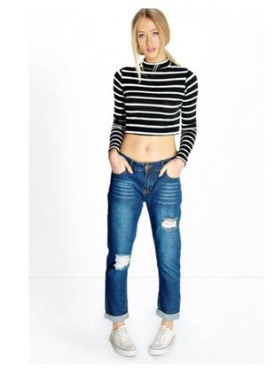 Синие mom-jeans  boohoo