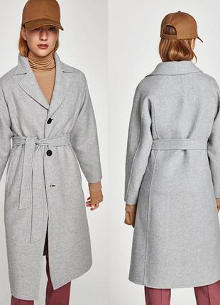 Zara  пальто с поясом шерсть