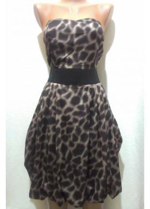 Леопардовое платье-бюстье с юбкой-баллоном h&m