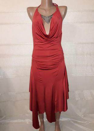Шикарный нарядный новогодний вечерний на выпускной сарафан платье с колье