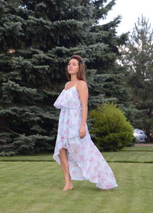 Длинное платье h&m в цветочек