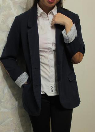 Удлиненный пиджак/жакет с заплатками на локтях от h&m