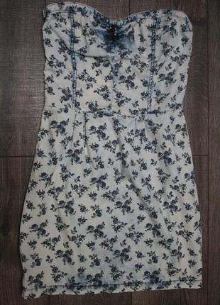 Летнее джинсовое платье бюстье - s