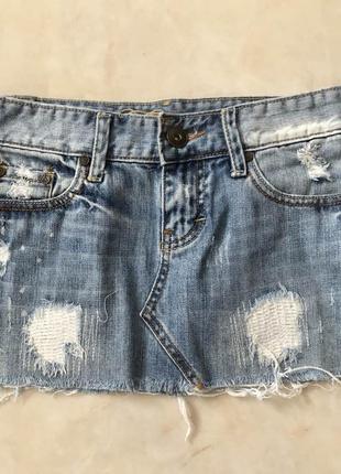 Юбка джинсовая/короткая/ светлая/стильная/брендовая/