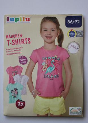 Большой выбор футболок для девочек lupilu, германия, цена за комплект 3шт
