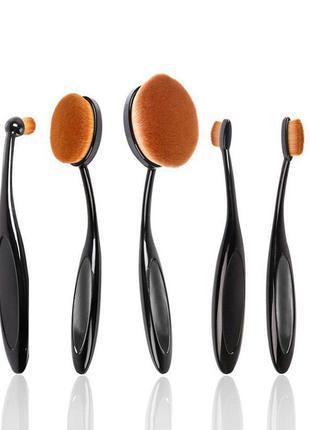 Набор кистей для макияжа 5 шт кистей-щеток oval