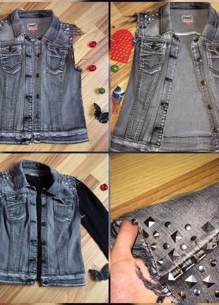 Модная джинсова желетка/безрукавка