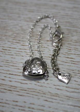 Браслет под серебро с подвеска серце