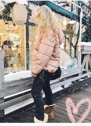 Трендовая оверсайз куртка бомбер пуховик земирка розового цвета дутая