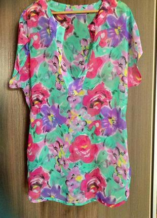 Шифоновое пляжное платье в цветочный принт