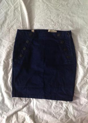 Джинсовая юбка мини с завышеной талией обтягивающая карандаш