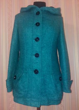 Стильное, теплое, удобное пальто с капюшоном, демисезон, чистая шерсть и альпака, falla