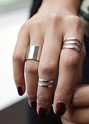 Кольца на фаланги пальцев ( набор колец 3 шт.) серебристые