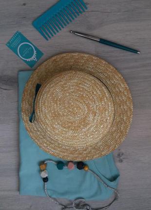 Шляпа соломенная канотье шляпка канотьє солом'яна бирюза