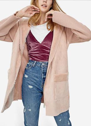 Пальто шикарное пудрового цвета stradivarius,новое,л