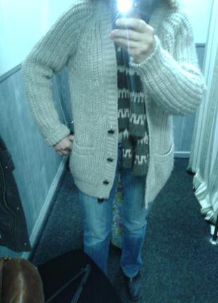 Шикарный кардиган-пальто.шерсть меринос+альпака