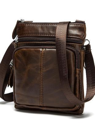 Отличный подарок любимому мужчине - кожаная сумка через плече барсетка будете довольны!