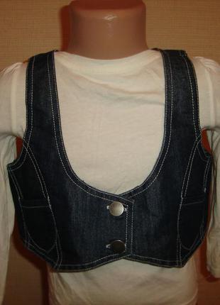 Модная джинсовая жилетка безрукавка на 8-9 лет matalan