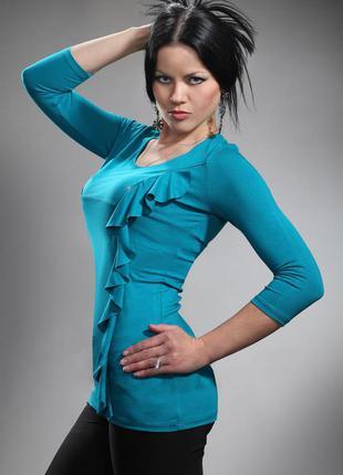 Трикотажная блузка бирюзового цвета