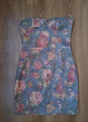Джинсовое платье бюстье