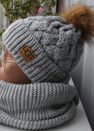 Sale! новый комплект: шапка с помпоном (на флисе) с хомутом восьмерка, серый