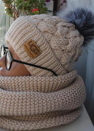 Sale! новый комплект: шапка с помпоном (на флисе) с хомутом восьмерка, нюдовый