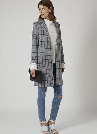Удлиненный пиджак-пальто в клетку topshop