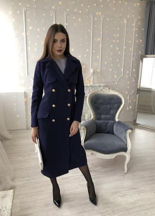 Шикарное синее пальто
