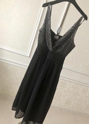 Платье черное с серебром /вечернее/ нарядное/праздничное/новогоднее/vero moda/ l/xl
