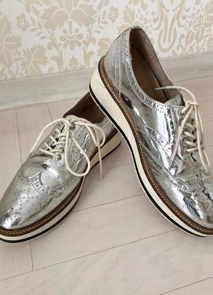 Лоферы/туфли/на шнуровке/стильные/серебро/оксфорды