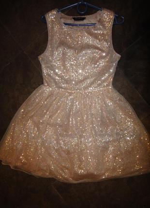 Нарядное платье на девочку р. 40 - 42 (10) нежно персиковый цвіт