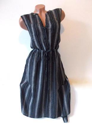 Оригинальное легкое платье миди в полоску черное серое