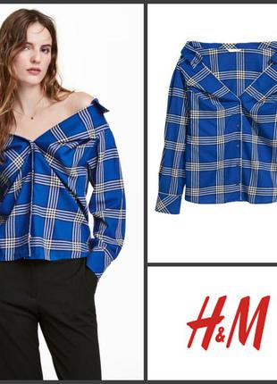 Рубашка блуза блузка с открытыми плечами от h&m