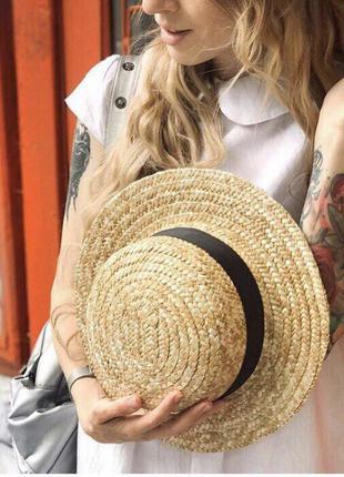 Женская летняя шляпа соломенная, шляпа канотье новое