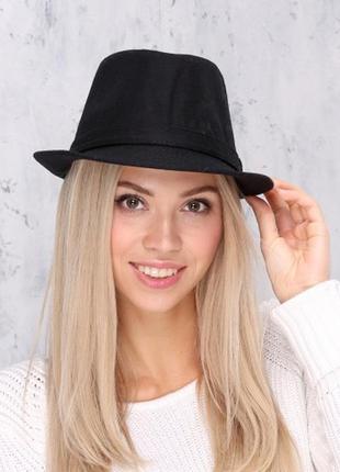 Шляпа федора трилби черная джинсовая h&m divided