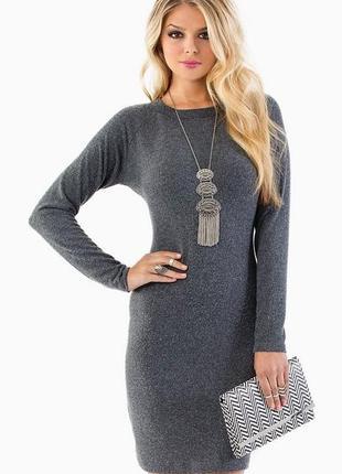 Платье женское трикотажное серое кашемировое