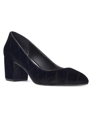 Nine west черные бархатные велюровые туфли лодочки на широком каблуке оригинал из сша