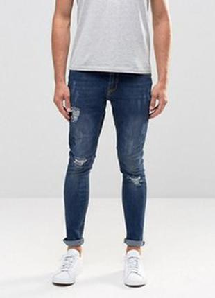 34/32 hoxton denim skinni рваные облегающие джинсы стрейч