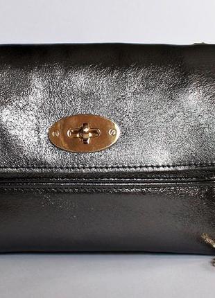 Итальянская кожаная сумка клатч, натуральная кожа, италия