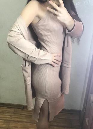 Двойка платье миди в рубчик и кардиган в стиле zara