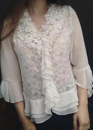 Белая нарядная блуза modissa