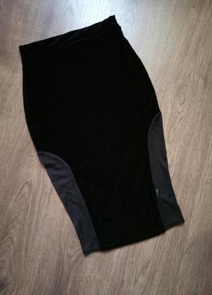 Шикарная бархатная велюровая юбка миди карандаш размер хс