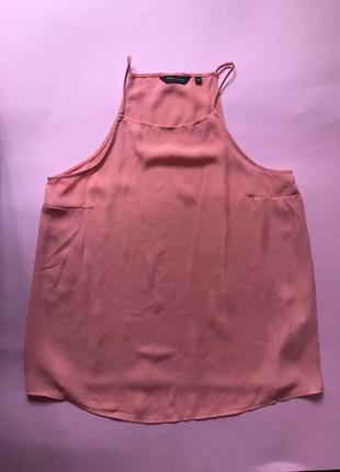 Блуза шифоновая на бретелях new look коралловая майка